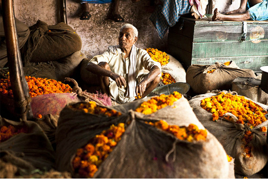 Indian-markets-delhi-flowers