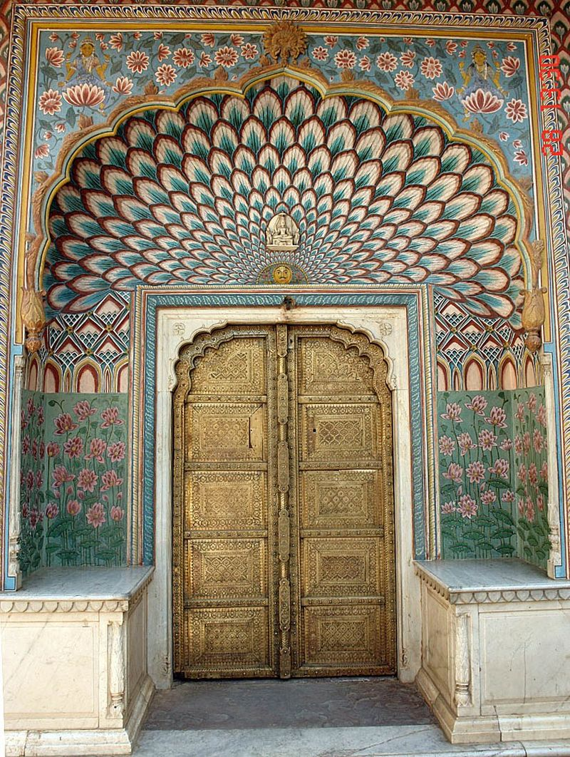 An ornate gate leading to the residential portion of the Jaipur City Place