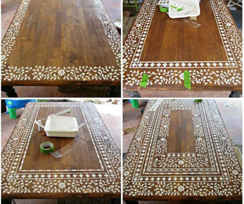 Indian wooden inlay stencil