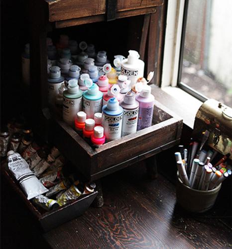 Paints in studio window anahata katkin